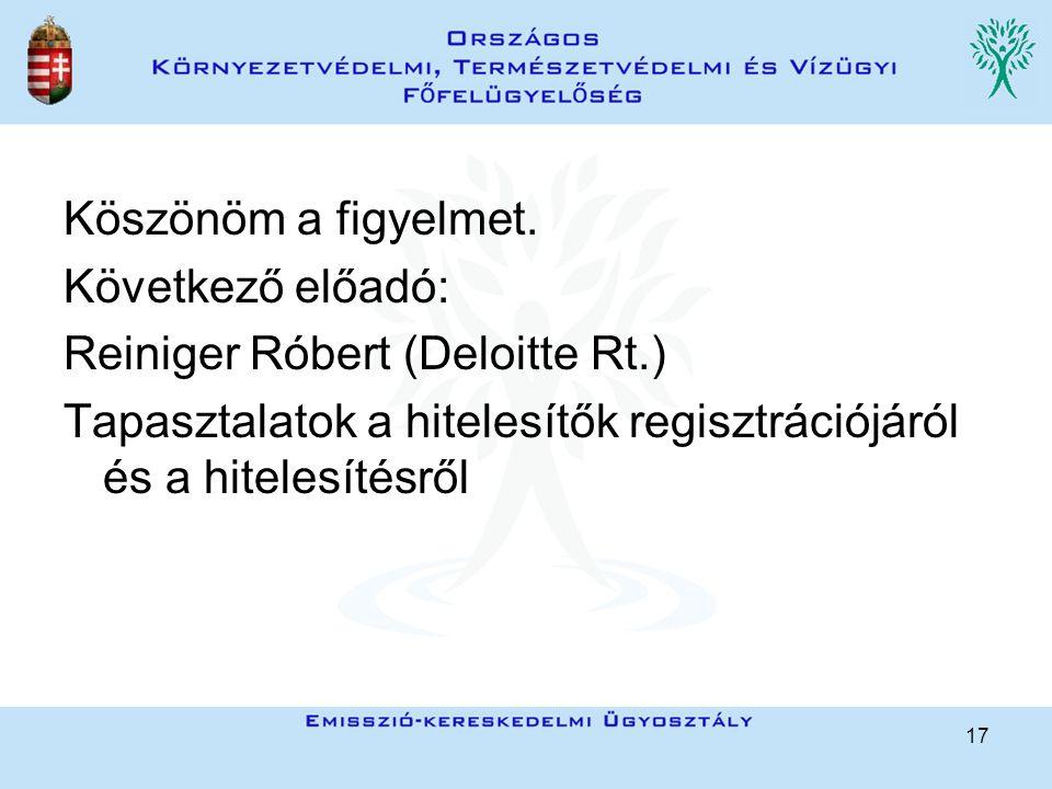 17 Köszönöm a figyelmet. Következő előadó: Reiniger Róbert (Deloitte Rt.) Tapasztalatok a hitelesítők regisztrációjáról és a hitelesítésről