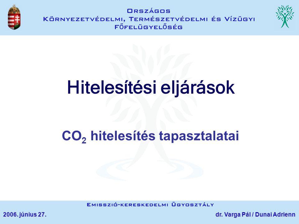 Hitelesítési eljárások CO 2 hitelesítés tapasztalatai 2006. június 27. dr. Varga Pál / Dunai Adrienn
