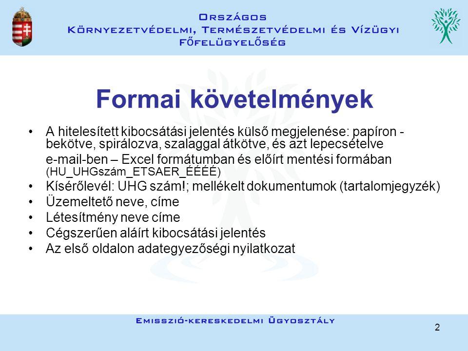 2 Formai követelmények A hitelesített kibocsátási jelentés külső megjelenése: papíron - bekötve, spirálozva, szalaggal átkötve, és azt lepecsételve e-mail-ben – Excel formátumban és előírt mentési formában (HU_UHGszám_ETSAER_ÉÉÉÉ) Kísérőlevél: UHG szám!; mellékelt dokumentumok (tartalomjegyzék) Üzemeltető neve, címe Létesítmény neve címe Cégszerűen aláírt kibocsátási jelentés Az első oldalon adategyezőségi nyilatkozat