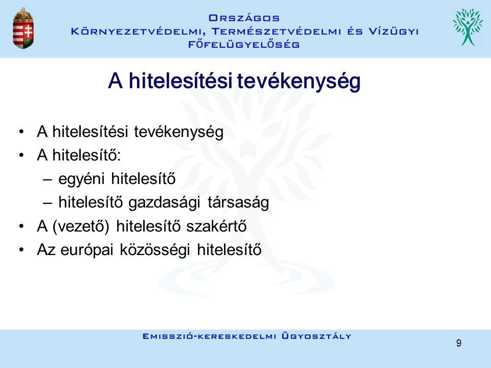 9 A hitelesítési tevékenység A hitelesítő: –egyéni hitelesítő –hitelesítő gazdasági társaság A (vezető) hitelesítő szakértő Az európai közösségi hitelesítő