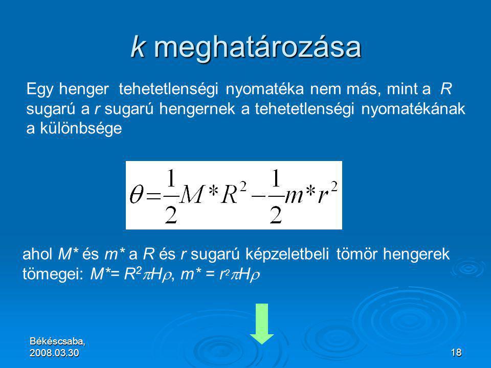 Békéscsaba, 2008.03.3018 k meghatározása Egy henger tehetetlenségi nyomatéka nem más, mint a R sugarú a r sugarú hengernek a tehetetlenségi nyomatékának a különbsége ahol M* és m* a R és r sugarú képzeletbeli tömör hengerek tömegei: M*= R 2  H , m* = r 2  H 