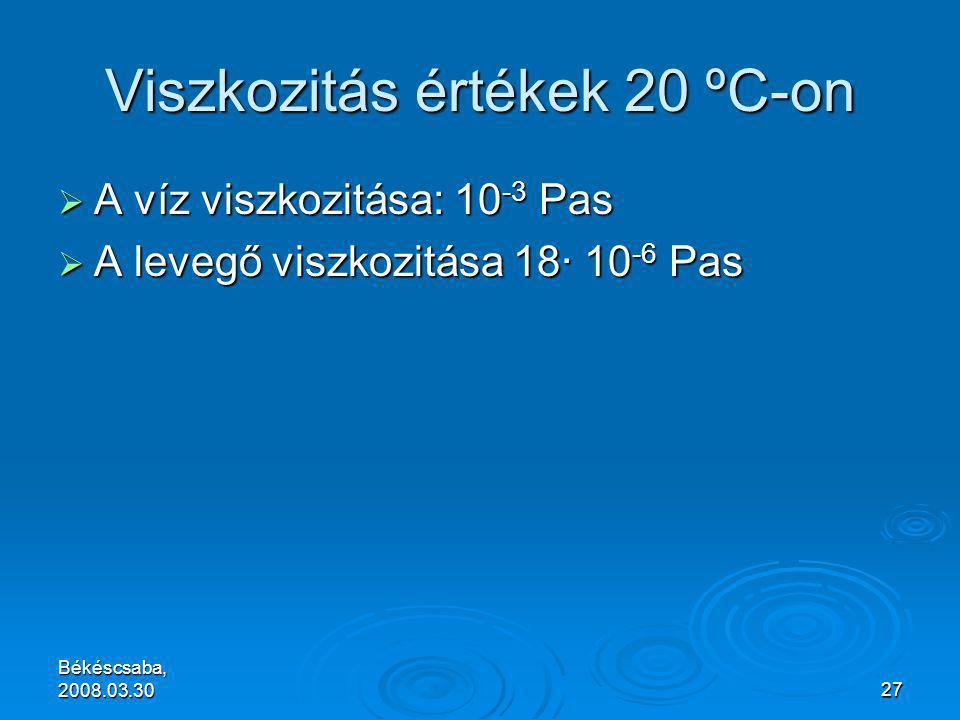 Békéscsaba, 2008.03.3027 Viszkozitás értékek 20 ºC-on  A víz viszkozitása: 10 -3 Pas  A levegő viszkozitása 18· 10 -6 Pas
