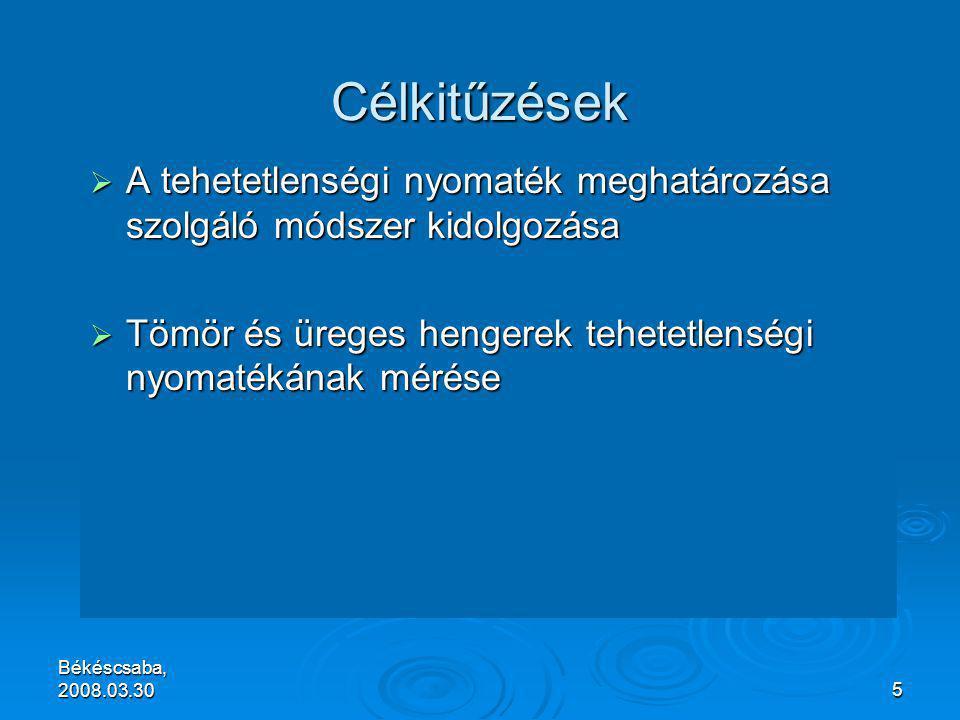 Békéscsaba, 2008.03.305 Célkitűzések  A tehetetlenségi nyomaték meghatározása szolgáló módszer kidolgozása  Tömör és üreges hengerek tehetetlenségi nyomatékának mérése