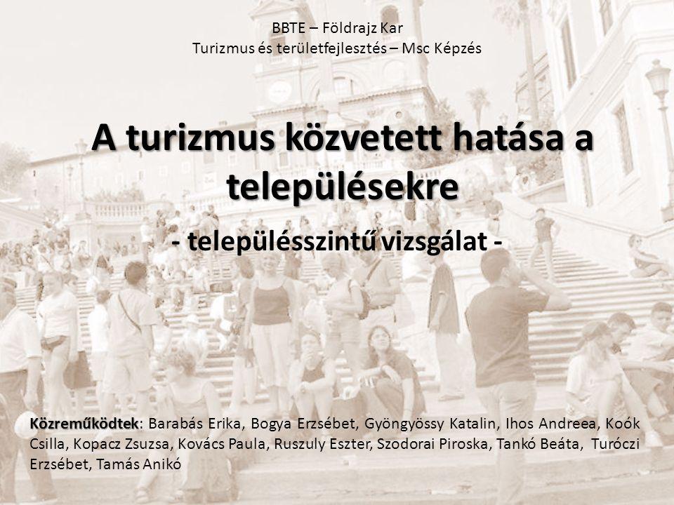 A turizmus közvetett hatása a településekre - településszintű vizsgálat - Közreműködtek Közreműködtek: Barabás Erika, Bogya Erzsébet, Gyöngyössy Katal