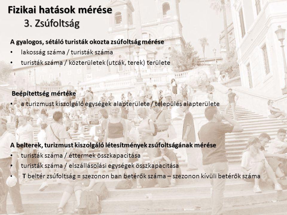 Elszállásolási egységekben termelt szemétmennyiség szobák száma * 6 kg + éttermi hulladék (kg) ( /nap ) Közterületek szeméttárólóiban keletkezett szemétmennyiség szeméttárolók száma * szeméttárolók térfogata (tipustól függően) * szeméttárolók ürítésének gyakorisága ( / hó ) (szezonban – szezonon kívül) Turistáktól származó közszemétmennyiség ( /hó ) Szeméttárolókban keletkezett szemétmennyiség * (turisták száma/lakosság száma) Fizikai hatások mérése 4.