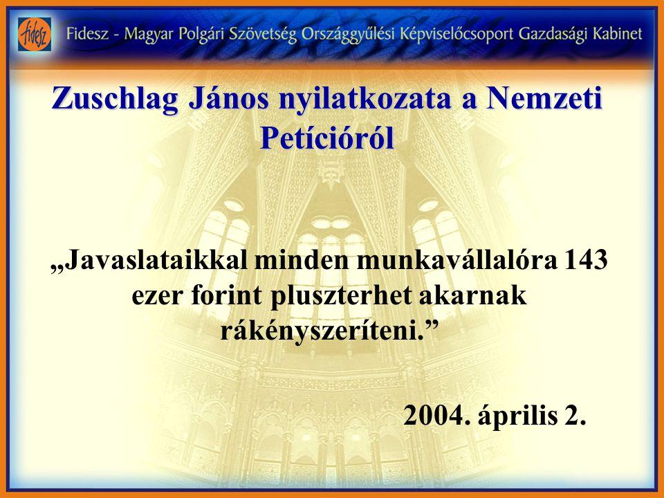 """Zuschlag János nyilatkozata a Nemzeti Petícióról """"Javaslataikkal minden munkavállalóra 143 ezer forint pluszterhet akarnak rákényszeríteni. 2004."""