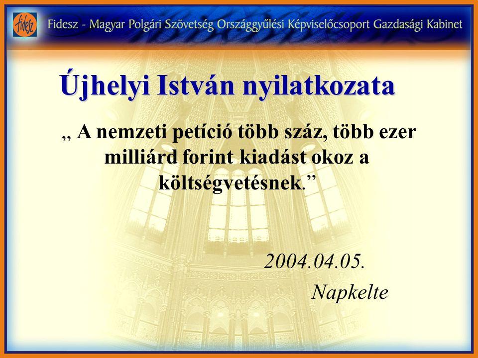 """Újhelyi István nyilatkozata """" A nemzeti petíció több száz, több ezer milliárd forint kiadást okoz a költségvetésnek. 2004.04.05."""
