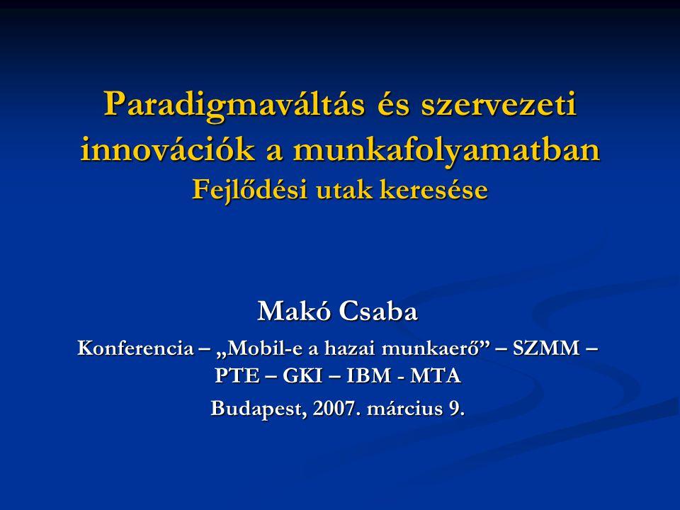 """Paradigmaváltás és szervezeti innovációk a munkafolyamatban Fejlődési utak keresése Makó Csaba Konferencia – """"Mobil-e a hazai munkaerő – SZMM – PTE – GKI – IBM - MTA Budapest, 2007."""