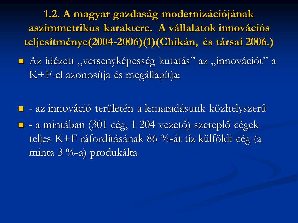1.2. A magyar gazdaság modernizációjának aszimmetrikus karaktere.