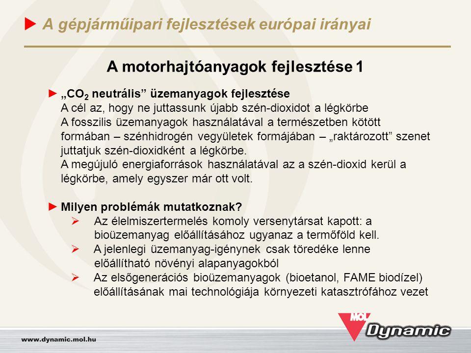 """ A gépjárműipari fejlesztések európai irányai A motorhajtóanyagok fejlesztése 1 ► """"CO 2 neutrális"""" üzemanyagok fejlesztése A cél az, hogy ne juttassu"""