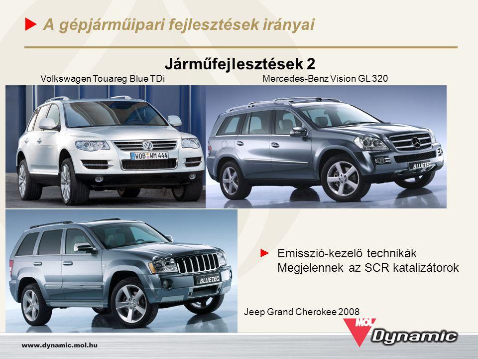  A gépjárműipari fejlesztések irányai Járműfejlesztések 2 ► Emisszió-kezelő technikák Megjelennek az SCR katalizátorok Volkswagen Touareg Blue TDiMer