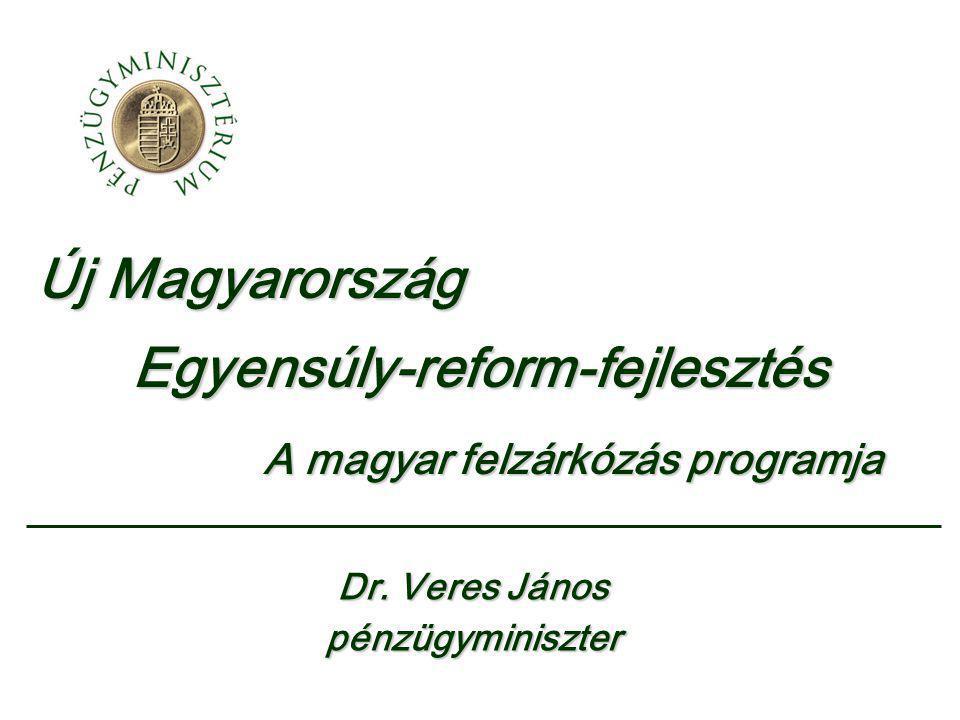 Új Magyarország Egyensúly-reform-fejlesztés A magyar felzárkózás programja A magyar felzárkózás programja Dr. Veres János pénzügyminiszter