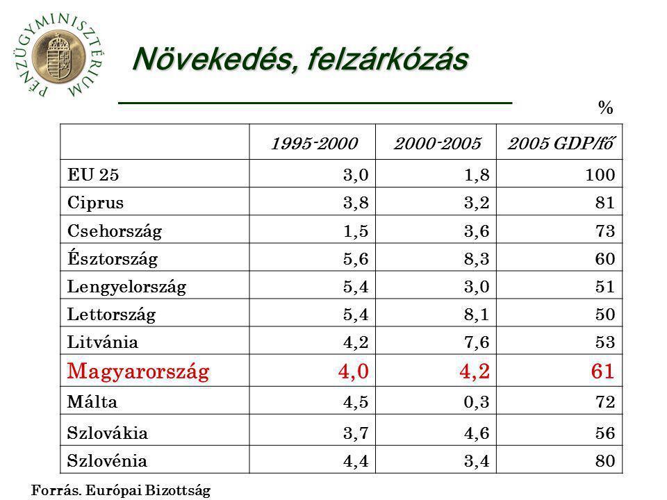 Növekedés, felzárkózás 1995-20002000-20052005 GDP/fő EU 253,01,8100 Ciprus3,83,281 Csehország1,53,673 Észtország5,68,360 Lengyelország5,43,051 Lettors