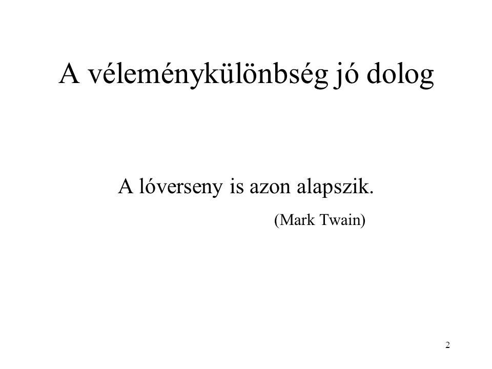 2 A véleménykülönbség jó dolog A lóverseny is azon alapszik. (Mark Twain)