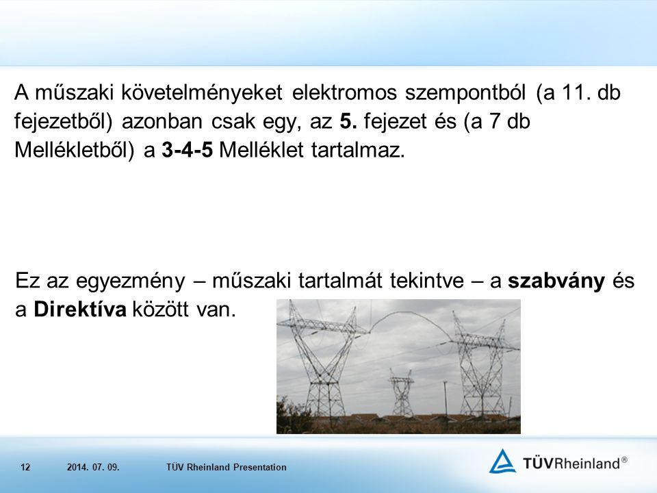 122014.07. 09.TÜV Rheinland Presentation A műszaki követelményeket elektromos szempontból (a 11.