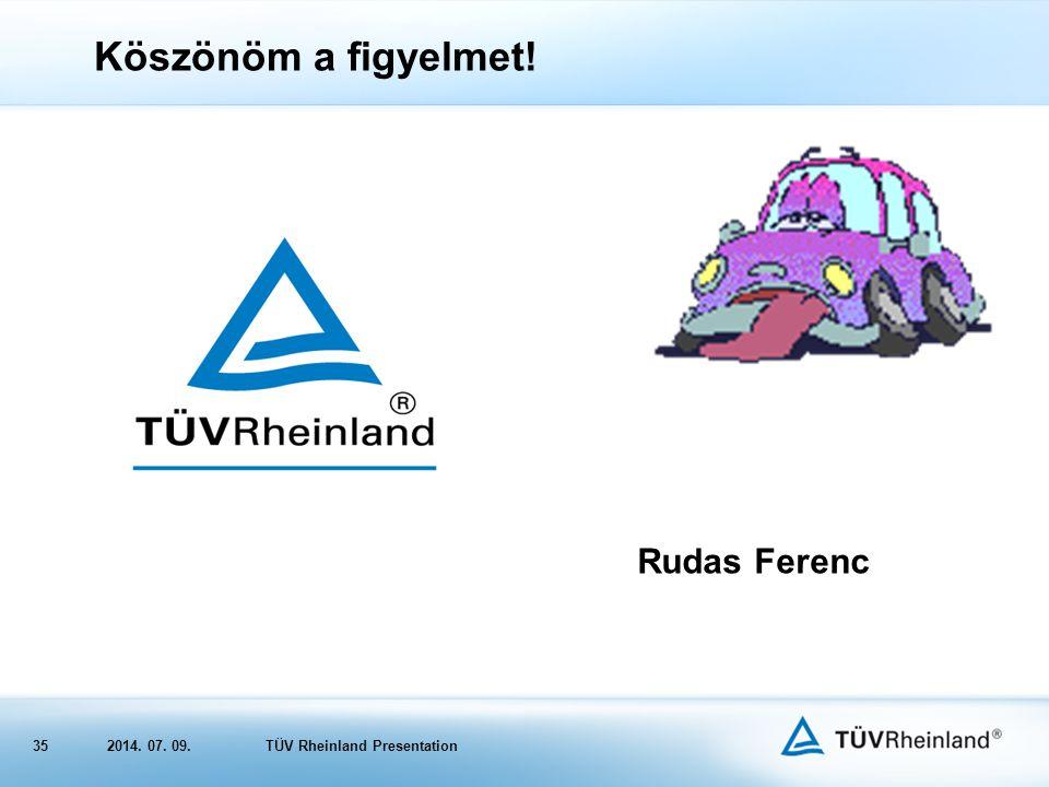 352014. 07. 09.TÜV Rheinland Presentation Köszönöm a figyelmet! Rudas Ferenc