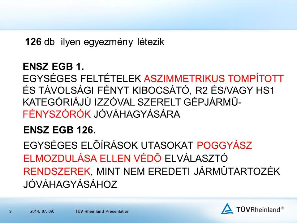 92014.07. 09.TÜV Rheinland Presentation 126 db ilyen egyezmény létezik ENSZ EGB 1.