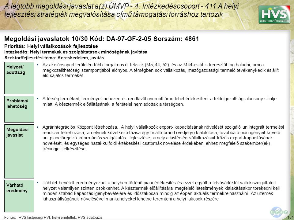 101 Forrás:HVS kistérségi HVI, helyi érintettek, HVS adatbázis Megoldási javaslatok 10/30 Kód: DA-97-GF-2-05 Sorszám: 4861 A legtöbb megoldási javaslat a(z) ÚMVP - 4.