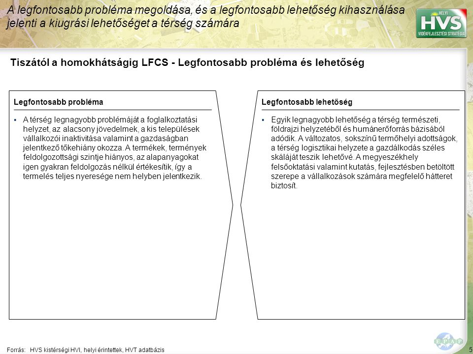 5 Tiszától a homokhátságig LFCS - Legfontosabb probléma és lehetőség A legfontosabb probléma megoldása, és a legfontosabb lehetőség kihasználása jelenti a kiugrási lehetőséget a térség számára Forrás:HVS kistérségi HVI, helyi érintettek, HVT adatbázis Legfontosabb problémaLegfontosabb lehetőség ▪A térség legnagyobb problémáját a foglalkoztatási helyzet, az alacsony jövedelmek, a kis települések vállalkozói inaktivitása valamint a gazdaságban jelentkező tőkehiány okozza.
