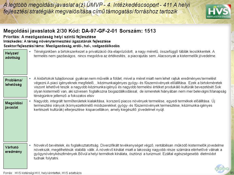 85 Forrás:HVS kistérségi HVI, helyi érintettek, HVS adatbázis Megoldási javaslatok 2/30 Kód: DA-97-GF-2-01 Sorszám: 1513 A legtöbb megoldási javaslat a(z) ÚMVP - 4.