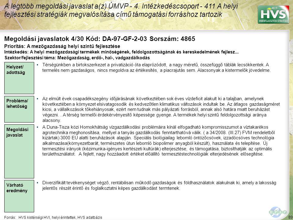 89 Forrás:HVS kistérségi HVI, helyi érintettek, HVS adatbázis Megoldási javaslatok 4/30 Kód: DA-97-GF-2-03 Sorszám: 4865 A legtöbb megoldási javaslat a(z) ÚMVP - 4.
