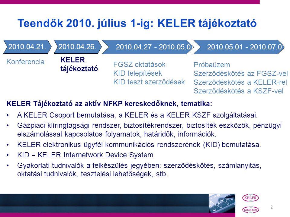 2 KELER Tájékoztató az aktív NFKP kereskedőknek, tematika: A KELER Csoport bemutatása, a KELER és a KELER KSZF szolgáltatásai. Gázpiaci klíringtagsági