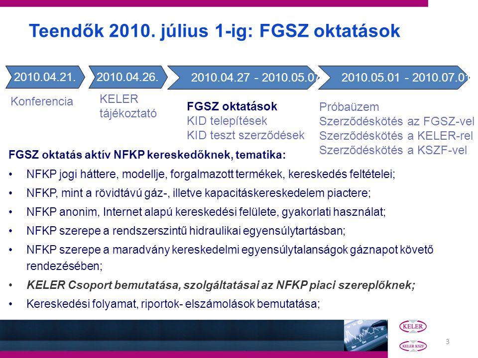 3 FGSZ oktatás aktív NFKP kereskedőknek, tematika: NFKP jogi háttere, modellje, forgalmazott termékek, kereskedés feltételei; NFKP, mint a rövidtávú gáz-, illetve kapacitáskereskedelem piactere; NFKP anonim, Internet alapú kereskedési felülete, gyakorlati használat; NFKP szerepe a rendszerszintű hidraulikai egyensúlytartásban; NFKP szerepe a maradvány kereskedelmi egyensúlytalanságok gáznapot követő rendezésében; KELER Csoport bemutatása, szolgáltatásai az NFKP piaci szereplőknek; Kereskedési folyamat, riportok- elszámolások bemutatása; Teendők 2010.