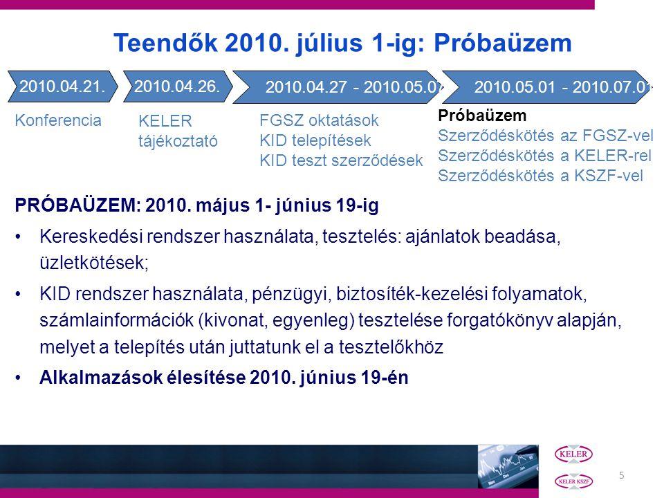 5 PRÓBAÜZEM: 2010. május 1- június 19-ig Kereskedési rendszer használata, tesztelés: ajánlatok beadása, üzletkötések; KID rendszer használata, pénzügy