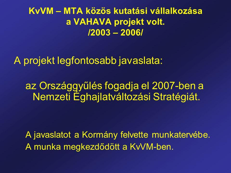 KvVM – MTA közös kutatási vállalkozása a VAHAVA projekt volt. /2003 – 2006/ A projekt legfontosabb javaslata: az Országgyűlés fogadja el 2007-ben a Ne