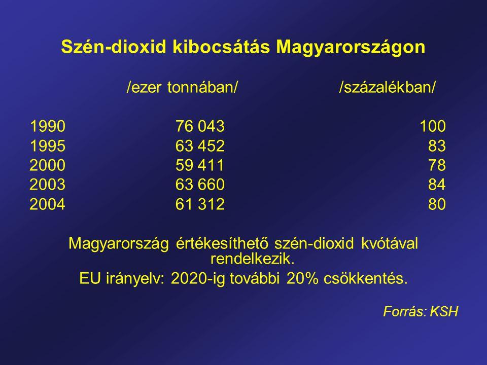 Szén-dioxid kibocsátás Magyarországon /ezer tonnában/ /százalékban/ 1990 76 043 100 1995 63 452 83 2000 59 411 78 2003 63 660 84 2004 61 312 80 Magyarország értékesíthető szén-dioxid kvótával rendelkezik.