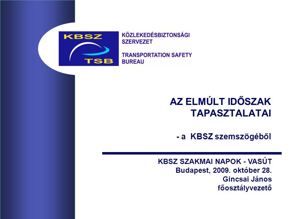 AZ ELMÚLT IDŐSZAK TAPASZTALATAI - a KBSZ szemszögéből KBSZ SZAKMAI NAPOK - VASÚT Budapest, 2009.