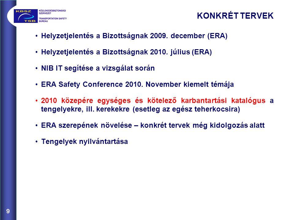 9 KONKRÉT TERVEK Helyzetjelentés a Bizottságnak 2009.