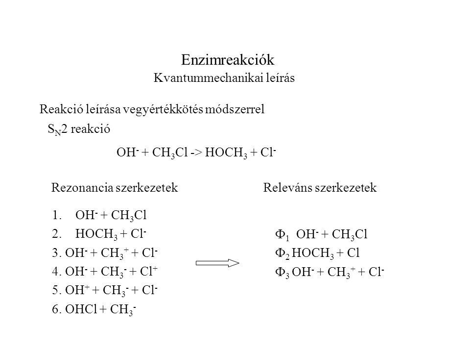 Enzimreakciók Kvantummechanikai leírás Reakció leírása vegyértékkötés módszerrel S N 2 reakció OH - + CH 3 Cl -> HOCH 3 + Cl - 1.OH - + CH 3 Cl 2.HOCH 3 + Cl - 3.