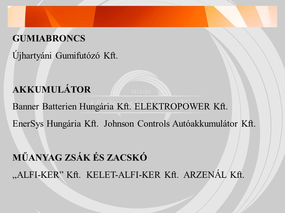 GUMIABRONCS Újhartyáni Gumifutózó Kft. AKKUMULÁTOR Banner Batterien Hungária Kft.