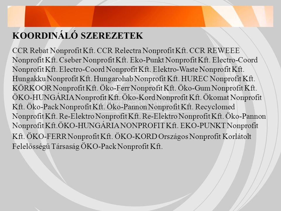 KOORDINÁLÓ SZEREZETEK CCR Rebat Nonprofit Kft. CCR Relectra Nonprofit Kft.