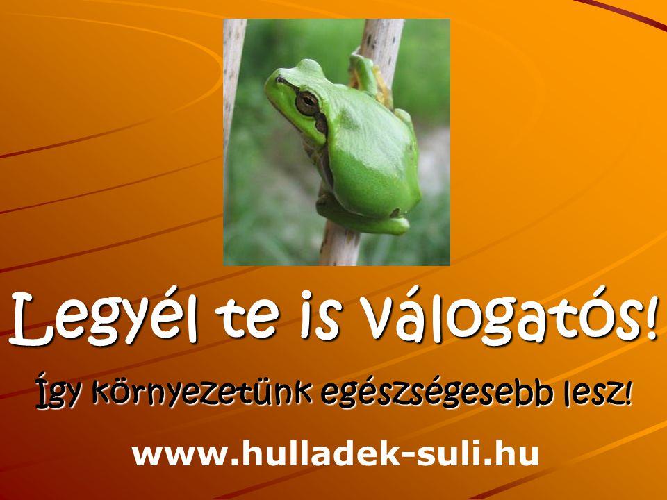Legyél te is válogatós! Így környezetünk egészségesebb lesz! www.hulladek-suli.hu
