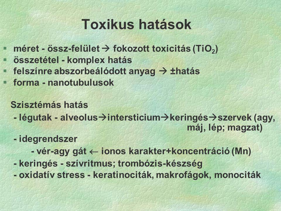 Toxikus hatások §méret - össz-felület  fokozott toxicitás (TiO 2 ) §összetétel - komplex hatás §felszínre abszorbeálódott anyag  ±hatás §forma - nanotubulusok Szisztémás hatás - légutak - alveolus  intersticium  keringés  szervek (agy, máj, lép; magzat) - idegrendszer - vér-agy gát  ionos karakter+koncentráció (Mn) - keringés - szívritmus; trombózis-készség - oxidatív stress - keratinociták, makrofágok, monociták