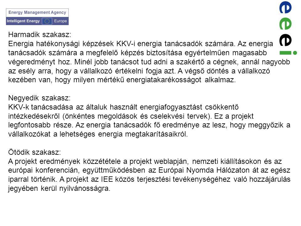 Harmadik szakasz: Energia hatékonysági képzések KKV-i energia tanácsadók számára. Az energia tanácsadók számára a megfelelő képzés biztosítása egyérte