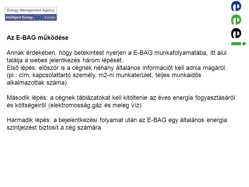 Az E-BAG működése Annak érdekében, hogy betekintést nyerjen a E-BAG munkafolyamatába, itt alul találja a webes jelentkezés három lépését.