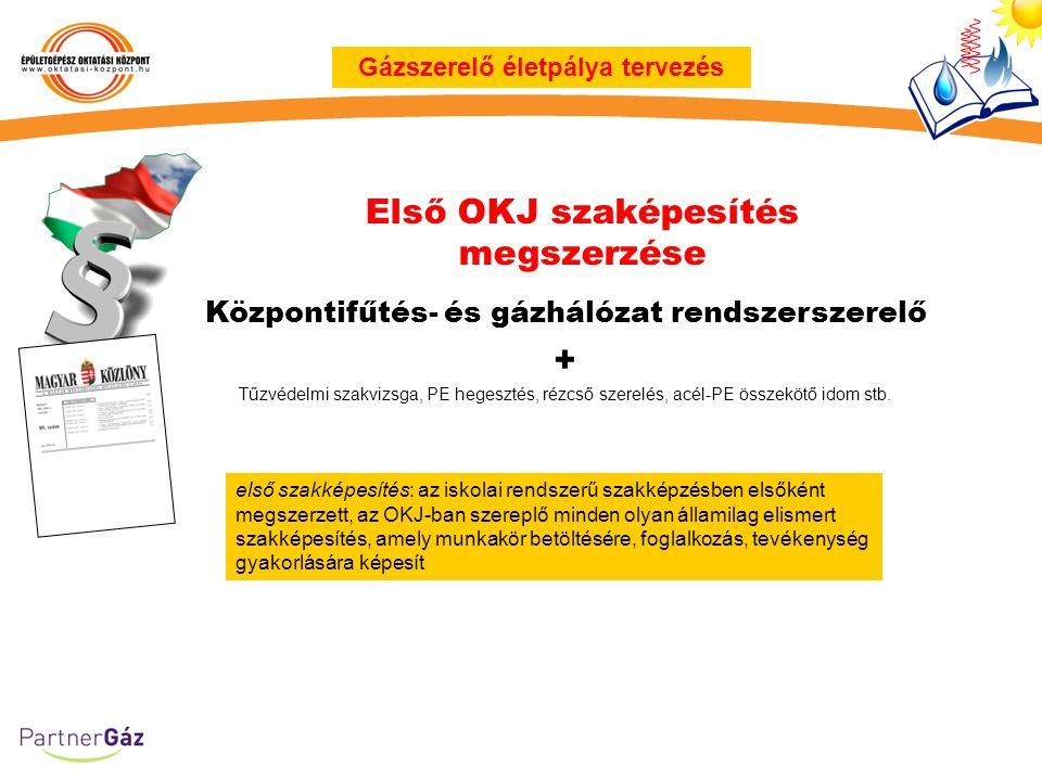 Első OKJ szaképesítés megszerzése Gázszerelő életpálya tervezés első szakképesítés: az iskolai rendszerű szakképzésben elsőként megszerzett, az OKJ-ba