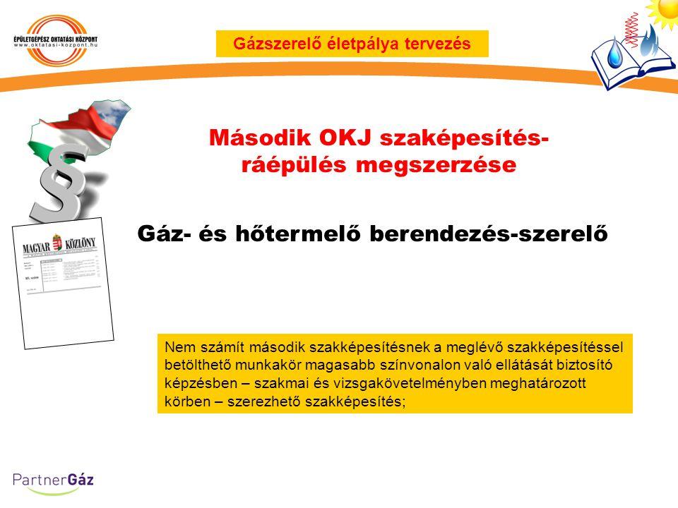 Második OKJ szaképesítés- ráépülés megszerzése Gázszerelő életpálya tervezés Nem számít második szakképesítésnek a meglévő szakképesítéssel betölthető