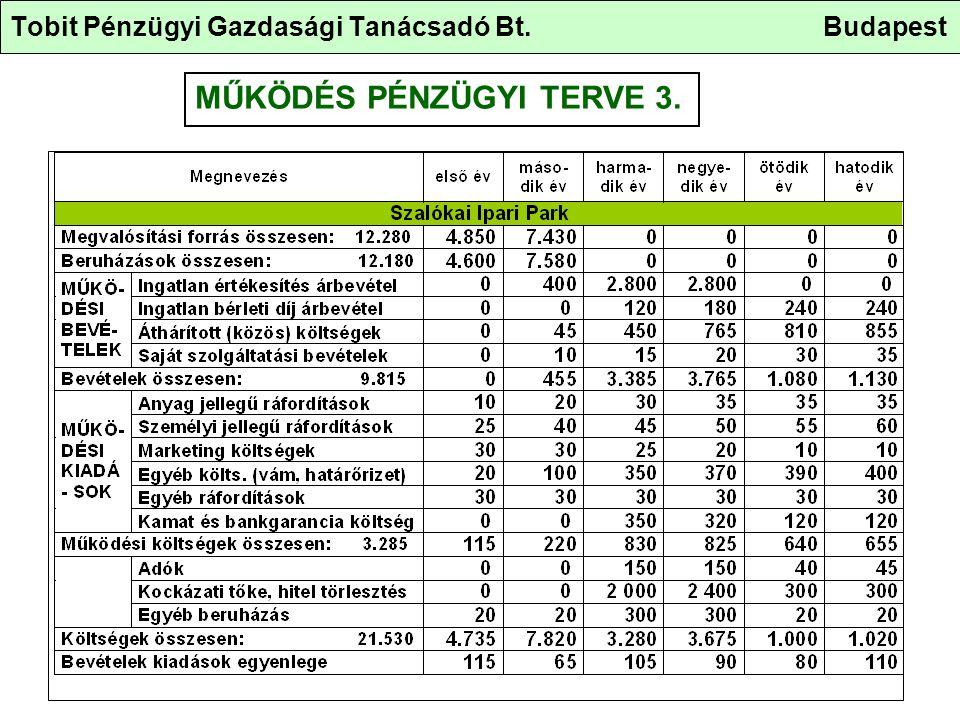 Tobit Pénzügyi Gazdasági Tanácsadó Bt. Budapest MŰKÖDÉS PÉNZÜGYI TERVE 3.