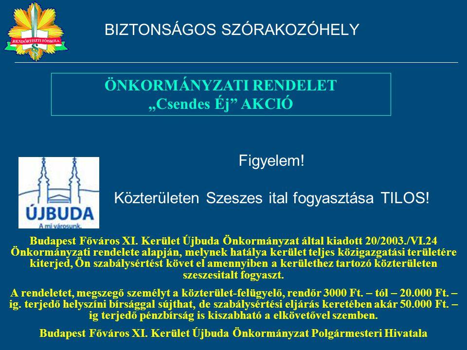 Figyelem! Közterületen Szeszes ital fogyasztása TILOS! Budapest Főváros XI. Kerület Újbuda Önkormányzat által kiadott 20/2003./VI.24 Önkormányzati ren