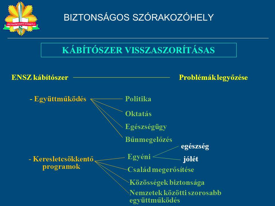 KÁBÍTÓSZER VISSZASZORÍTÁSAS Politika ENSZ kábítószer - Együttműködés Oktatás Egészségügy Problémák legyőzése Bűnmegelőzés - Keresletcsökkentő programo