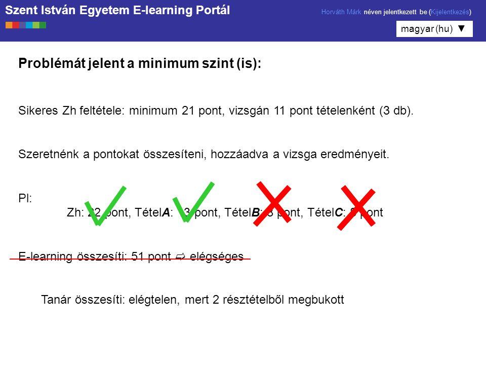 Szent István Egyetem E-learning Portál Horváth Márk néven jelentkezett be (Kijelentkezés) magyar (hu) ▼ Problémát jelent a minimum szint (is): Sikeres Zh feltétele: minimum 21 pont, vizsgán 11 pont tételenként (3 db).