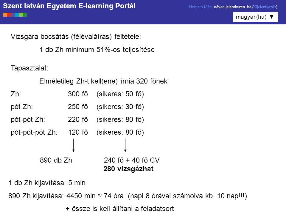 Szent István Egyetem E-learning Portál Horváth Márk néven jelentkezett be (Kijelentkezés) magyar (hu) ▼ Vizsgára bocsátás (félévaláírás) feltétele: 1 db Zh minimum 51%-os teljesítése Tapasztalat: Elméletileg Zh-t kell(ene) írnia 320 főnek Zh:300 fő(sikeres: 50 fő) pót Zh:250 fő(sikeres: 30 fő) pót-pót Zh:220 fő(sikeres: 80 fő) pót-pót-pót Zh:120 fő(sikeres: 80 fő) 890 db Zh 240 fő + 40 fő CV 280 vizsgázhat 1 db Zh kijavítása: 5 min 890 Zh kijavítása: 4450 min ≈ 74 óra (napi 8 órával számolva kb.