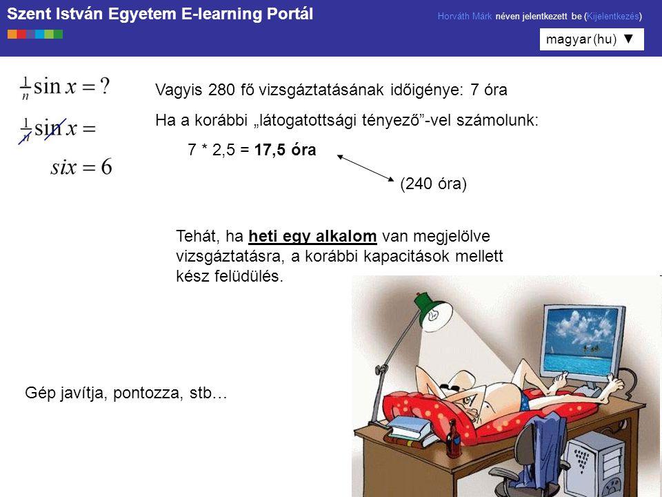 Szent István Egyetem E-learning Portál Horváth Márk néven jelentkezett be (Kijelentkezés) magyar (hu) ▼ E-l.U.