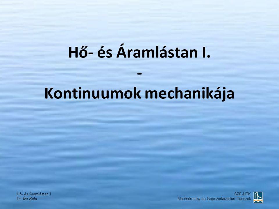 Hő- és Áramlástan I. Dr. Író Béla SZE-MTK Mechatronika és Gépszerkezettan Tanszék Hő- és Áramlástan I. - Kontinuumok mechanikája