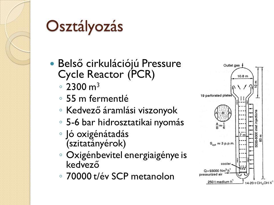 Osztályozás Belső cirkulációjú Pressure Cycle Reactor (PCR) ◦ 2300 m 3 ◦ 55 m fermentlé ◦ Kedvező áramlási viszonyok ◦ 5-6 bar hidrosztatikai nyomás ◦ Jó oxigénátadás (szitatányérok) ◦ Oxigénbevitel energiaigénye is kedvező ◦ 70000 t/év SCP metanolon