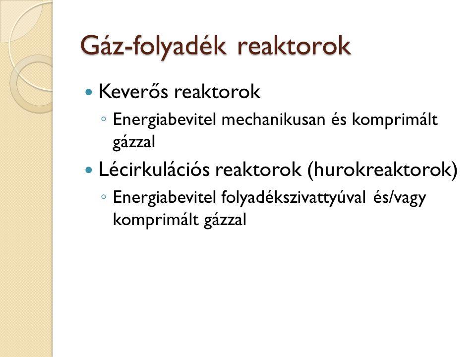 Gáz-folyadék reaktorok Keverős reaktorok ◦ Energiabevitel mechanikusan és komprimált gázzal Lécirkulációs reaktorok (hurokreaktorok) ◦ Energiabevitel folyadékszivattyúval és/vagy komprimált gázzal